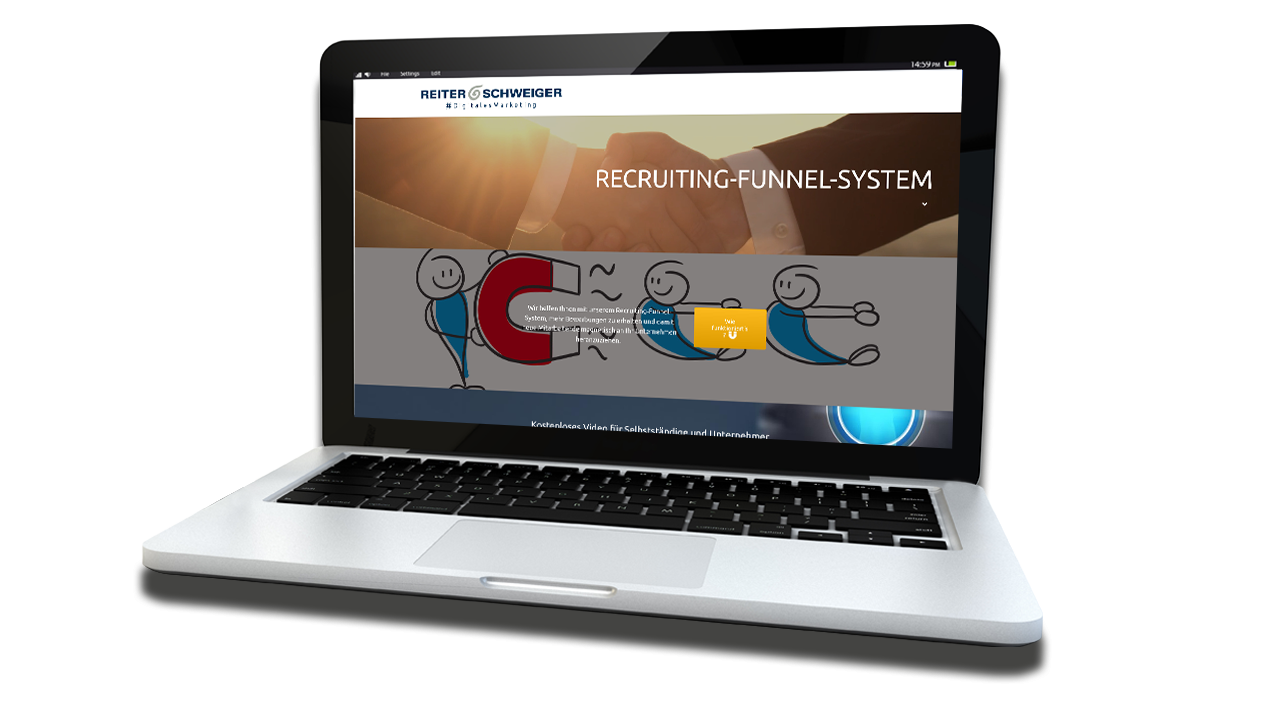 Laptop mit Recruiting-Funnel-System